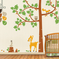 "Baby Nursery Tree Wall Decals - Tree Decal - Tree Wall Decal with Deer - Large: approx 106"" x 90"" - K008"