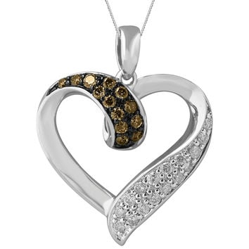Silver Mocha Open Heart Diamond Necklace Steven Singer Jewelers