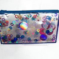 Clear Cosmetic Bag Glitter Pencil Case Glitter Zipper Pouch in Turkish Enchantment
