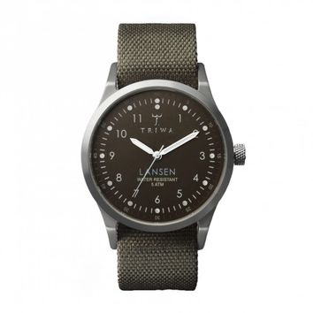 Triwa Army Green Canvas Partisan Lansen Wrist Watch