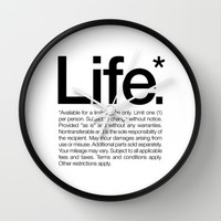 Life.* Available for a limited time only. (White) Wall Clock by WORDS BRAND™