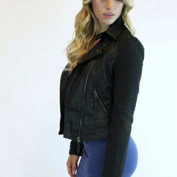 Moto Quilted Knit Sleeve Jacket | Santa Fe Apparel