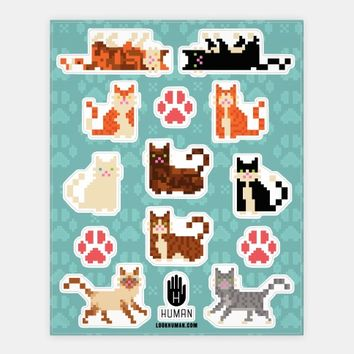 Cute Pixel Kitty Cat Stickers