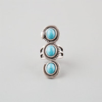 Full Tilt 3 Stone Turquoise Knuckle Ring Silver  In Sizes