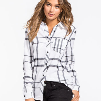 Full Tilt Large Scale Womens Boyfriend Flannel Shirt White/Black  In Sizes