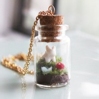"Terrarium Necklace - ""A Bunny's World"" Jar Terrarium Necklace"