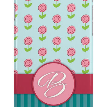 Monogram Tiny Roses Personalized iPhone or Samsung Galaxy Case, Flower Phone Case, Stripes Phone Case, Rose Phone Case, Teal Phone Case