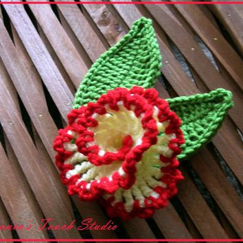 Vanilla And Cherry Flower. CROCHET .. on Luulla