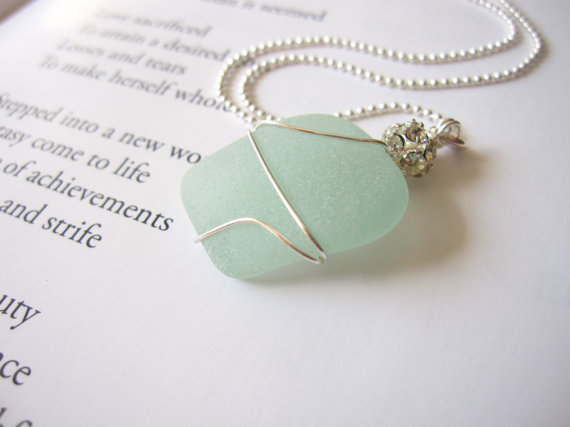 Seafoam seaglass nautical jewelry - Real Beach Glass Mermaid Necklace - Bride's Necklace for Destination Wedding