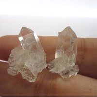 Clear Crystal Quartz Cluster ICEBERG Studs n1 by AstralEYE on Etsy