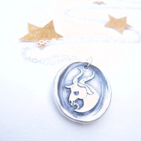 Wax seal necklace pendant Capricorn zodiac sign made from recycled fine silver