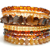 Memory Wire Bracelet Autumn Brown and Tan Stacked Bracelet Beaded Wrap Bracelet
