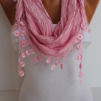 Pink Cozy Shawl Scarf - Headband -with Lace Edge - Trending Summer