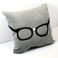 Felt Appliqued Geek Glasses on Gray Ultra by YellowBugBoutique