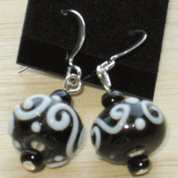 Dangling Beaded Earrings in Black and White
