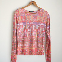 90s New Age Shirt - Indian Temple Photo Print - 90s Mesh Shirt