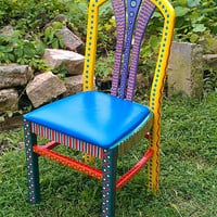 Colorful Hand Painted Crazy Chair Yellow Back by LisaFrick on Etsy