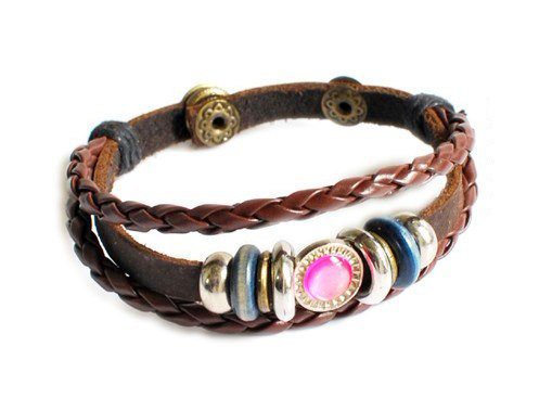 bangle leather bracelet buckle bracelet women bracelet girls bracelet made of leather metal stone wood beads SH-2327
