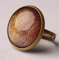 Deep Magenta Shimmer Glass Ring
