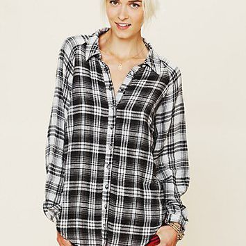 Free People FP New Romantics Plaid Capelet Top