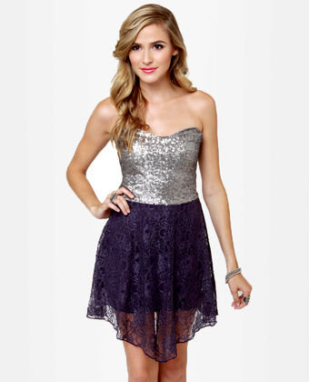 Pretty Sequin Dress - Lace Dress - Strapless Dress - Color Block Dress