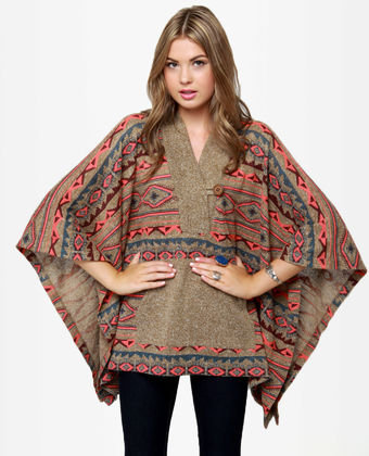 Obey Drifter Sweater - Southwest Print Sweater - Poncho Sweater - Oversized Sweater