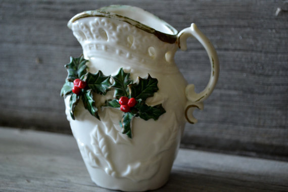 Vintage Mistletoe Creamer