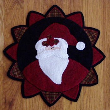 Penny Rug Santa Claus Candle and Table Mat by Happy Valley Primitives