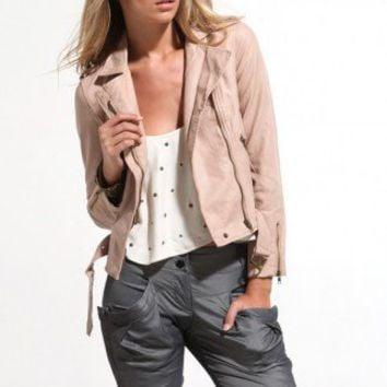 Pleather Biker Jacket in Blush