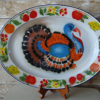 Vintage Turkey Platter  Large Enamel Chippy Shabby Thanksgiving