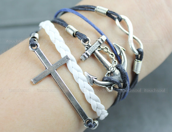 Kama - fashion wax attachment bracelet restore ancient ways silver anchor bracelet cross bracelet infinity bracelet