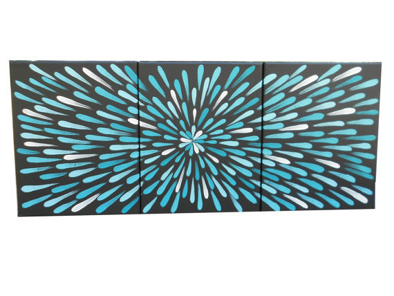 3 Panel, Painting, Turquoise, 8 X 10
