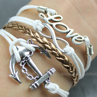 Kama - silver bracelet karma silver anchor bracelet infinity bracelet couple bracelet Gold leather bracelet, wax attachment bracelet