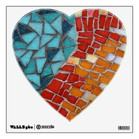 Aqua / Orange Heart Wall Decal from Zazzle.com