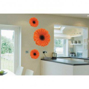 ADZif Foto Orange Gerbera Trio Wall Decal - F1106 - All Wall Art - Wall Art & Coverings - Decor