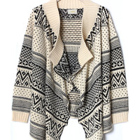 Aztec Zig Zag Intarsia Knit Beige Cape - New Arrivals - Retro, Indie and Unique Fashion