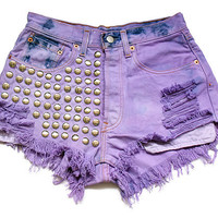 Studded high waist Levi denim shorts S
