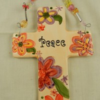Wall Cross Ceramic Peace Beaded Flower from Eves Home Decor and Jewelry