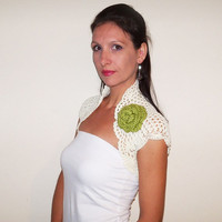 Lace WEDDING BOLERO Shrug / BRIDAL Bolero Jacket / Crochet Ivory Shrug / Lace Bridal Bolero / Crochet Wedding Shrug / Cream Bolero Shrug