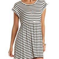 Striped Babydoll Dress by Charlotte Russe - White Combo