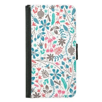Retro Floral Pattern Samsung Galaxy S5 Wallet Case