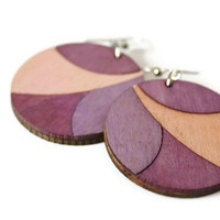 Fall Fashion Purple Earrings. Round Wood Earrings with Fish Hooks.