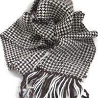 Handwoven Houndstooth Scarf - Brown and Creamy White