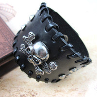 bangle skull bracelet leather bracelet buckle bracelet men bracelet made of leather and alloy skull wrist bracelet sh-0709