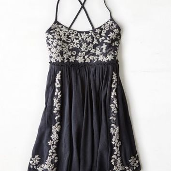 AEO Women's Embroidered Babydoll Dress (Washed Black)