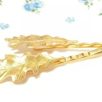 Medium Gold Leaf Bobby Pin Set - Wo.. on Luulla