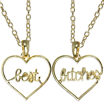BEST BITCHES HEART NECKLACE