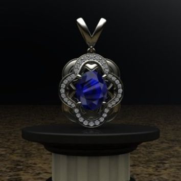 Sapphire Pendent – designed by Patty at Elegant Jewelers