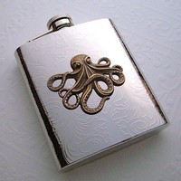 Steampunk Flask Brass Octopus Large Size Holds 8 oz Vintage Reproduction Gothic Victorian Nautical Silver &amp; Brass Mixed Metals