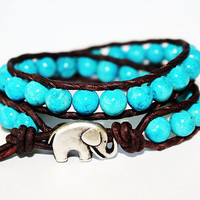 Elephant Bracelet, Leather Beaded Wrap Bracelet 2x, Elephant Jewelry, Blue Fossil Stone, Boho Chic, Lucky Jewelry